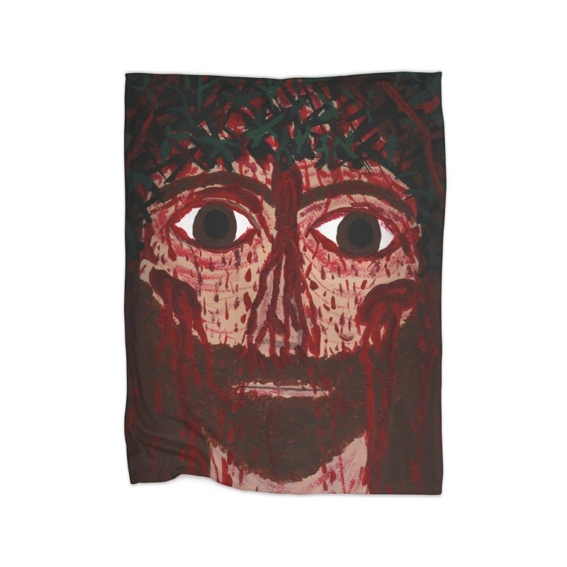 Holy Face of Jesus Crucified Home Blanket by Mary Kloska Fiat's Artist Shop