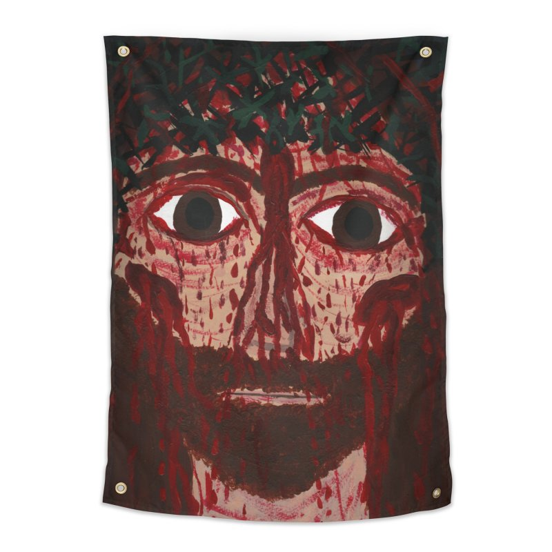 Holy Face of Jesus Crucified Home Tapestry by Mary Kloska Fiat's Artist Shop