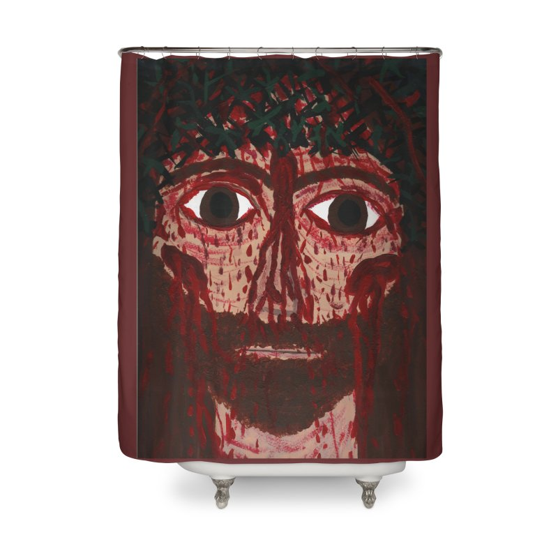 Holy Face of Jesus Crucified Home Shower Curtain by Mary Kloska Fiat's Artist Shop