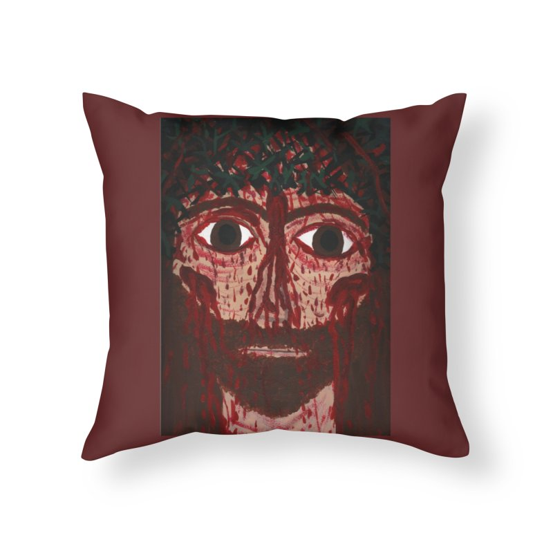Holy Face of Jesus Crucified Home Throw Pillow by Mary Kloska Fiat's Artist Shop