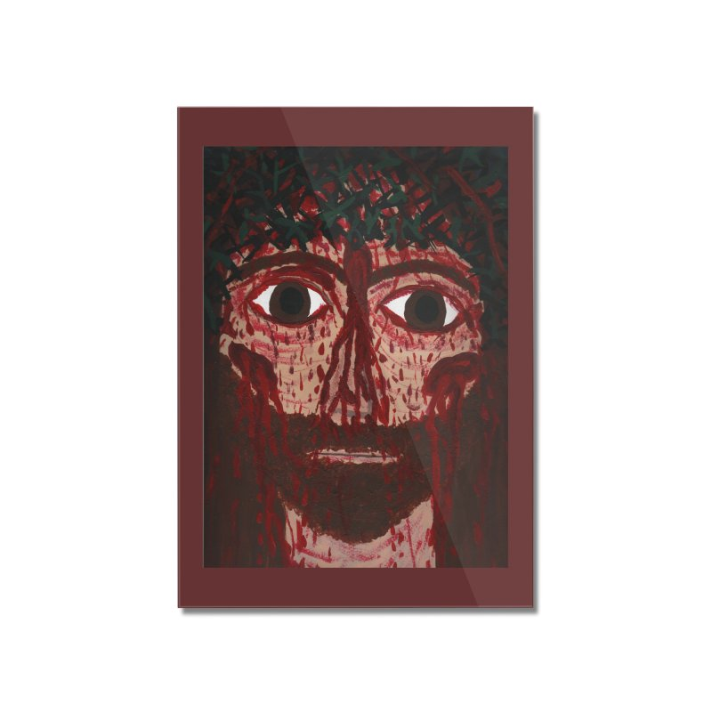 Holy Face of Jesus Crucified Home Mounted Acrylic Print by Mary Kloska Fiat's Artist Shop
