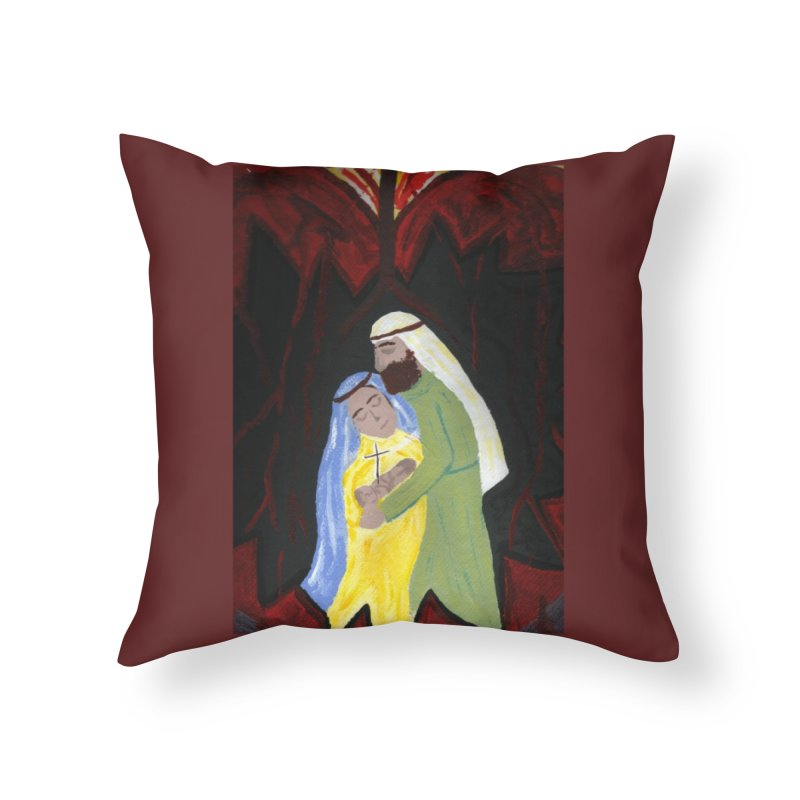 Holy Family Home Throw Pillow by Mary Kloska Fiat's Artist Shop