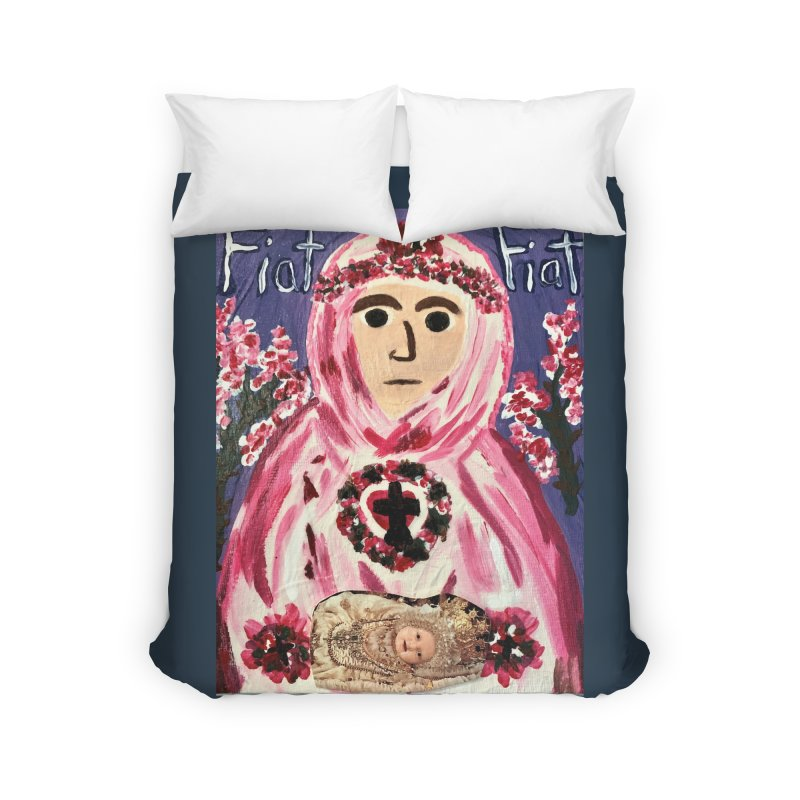 Infant Blessed Mother Mary Home Duvet by Mary Kloska Fiat's Artist Shop