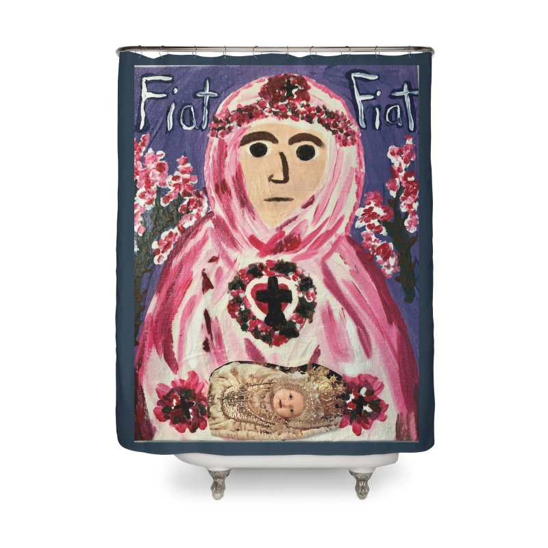 Infant Blessed Mother Mary Home Shower Curtain by Mary Kloska Fiat's Artist Shop