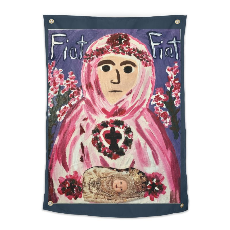 Infant Blessed Mother Mary Home Tapestry by Mary Kloska Fiat's Artist Shop