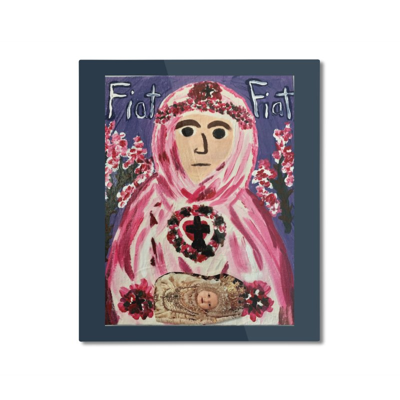 Infant Blessed Mother Mary Home Mounted Aluminum Print by Mary Kloska Fiat's Artist Shop