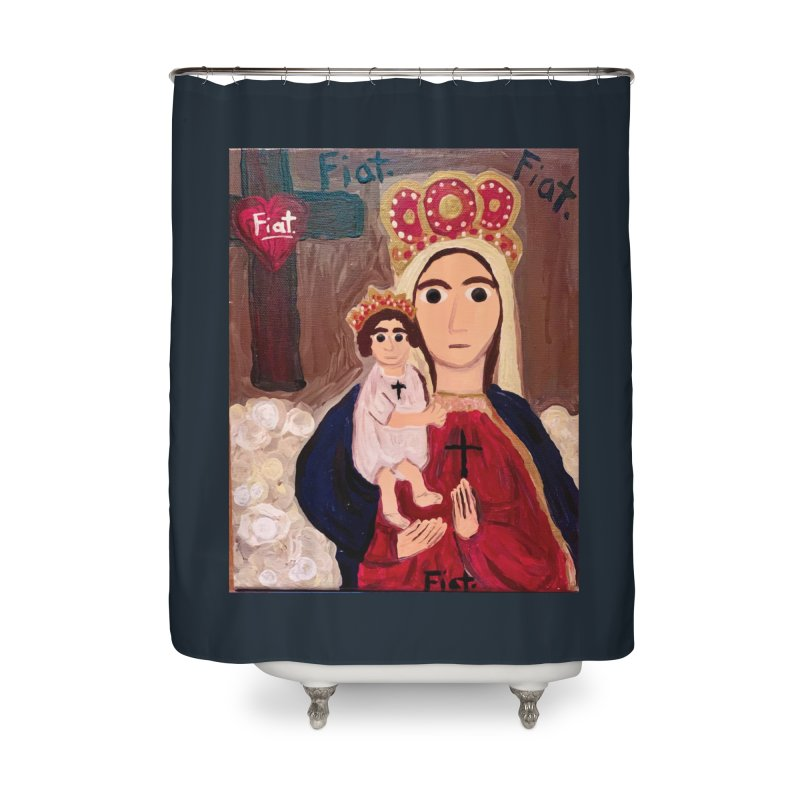 Our Lady of Good Remedy Home Shower Curtain by Mary Kloska Fiat's Artist Shop