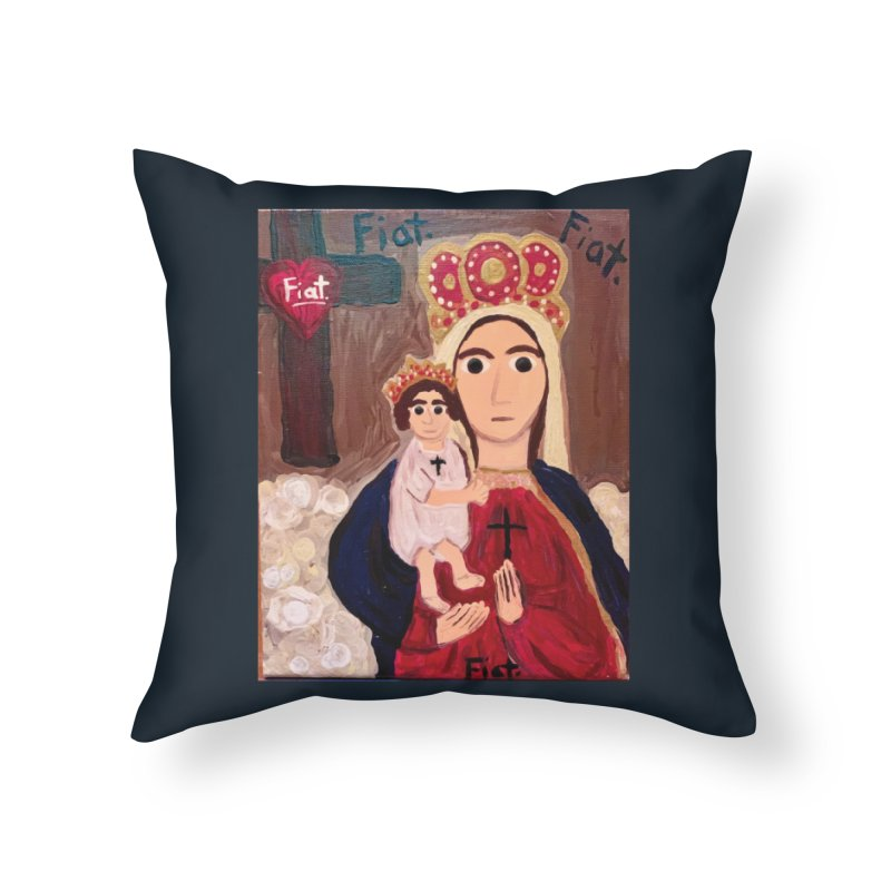 Our Lady of Good Remedy Home Throw Pillow by Mary Kloska Fiat's Artist Shop