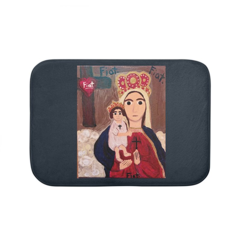 Our Lady of Good Remedy Home Bath Mat by Mary Kloska Fiat's Artist Shop