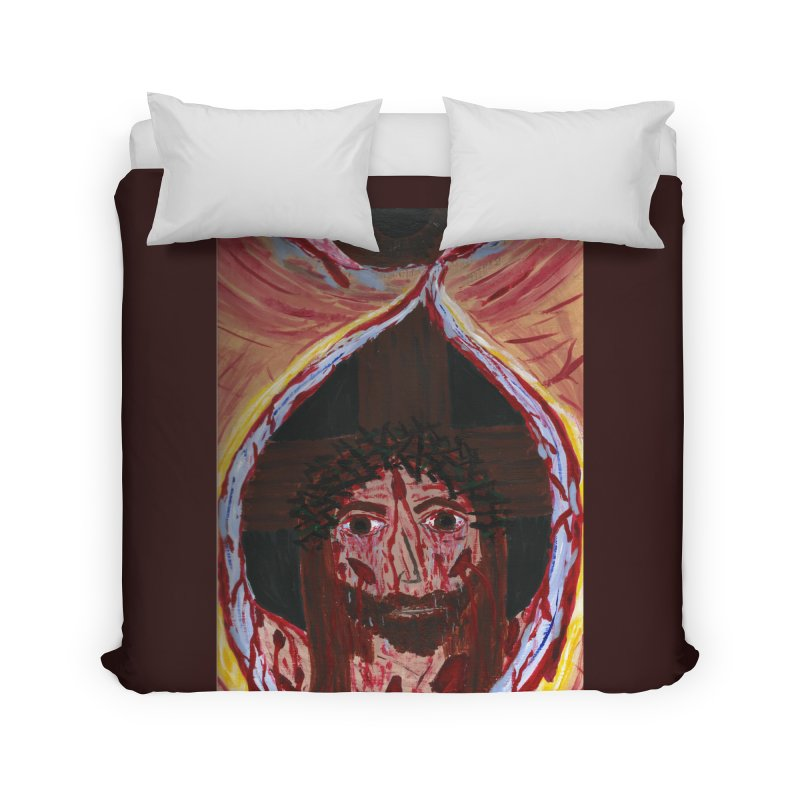 One tear of Jesus Crucified Home Duvet by Mary Kloska Fiat's Artist Shop