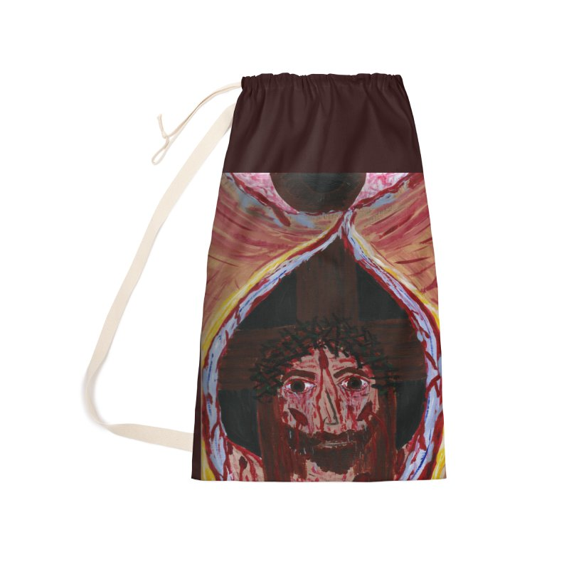 One tear of Jesus Crucified Accessories Bag by Mary Kloska Fiat's Artist Shop