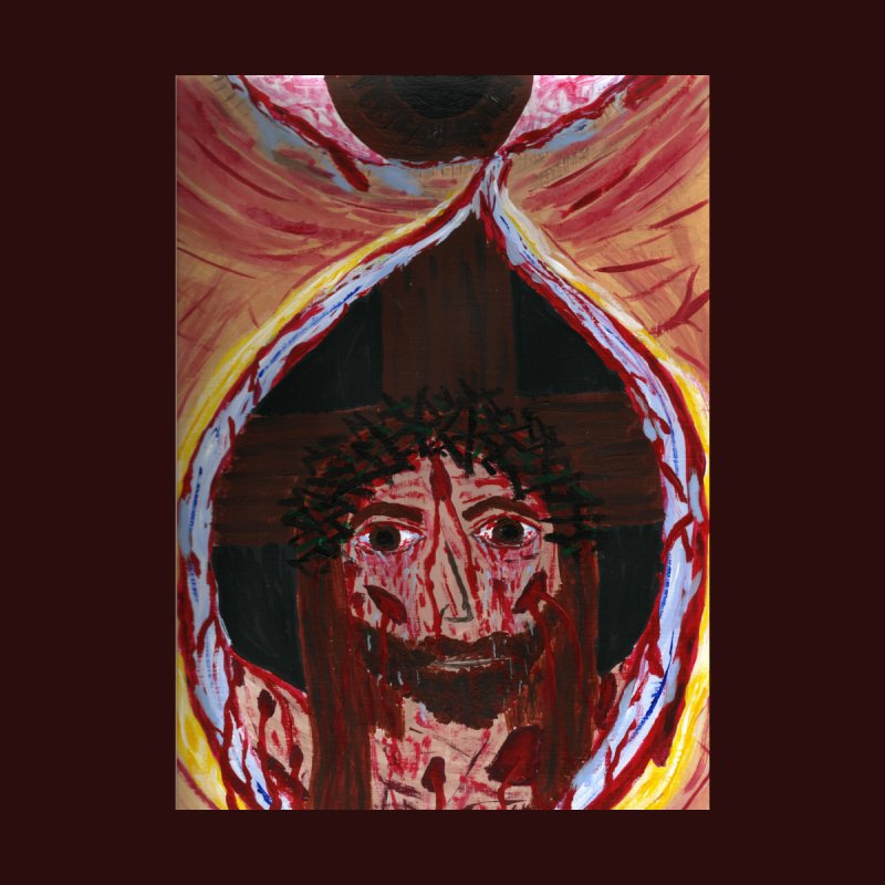 One tear of Jesus Crucified Home Throw Pillow by Mary Kloska Fiat's Artist Shop