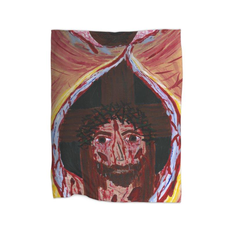 One tear of Jesus Crucified Home Blanket by Mary Kloska Fiat's Artist Shop