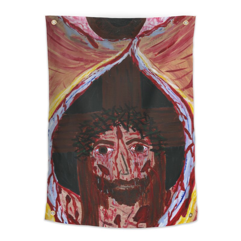 One tear of Jesus Crucified Home Tapestry by Mary Kloska Fiat's Artist Shop