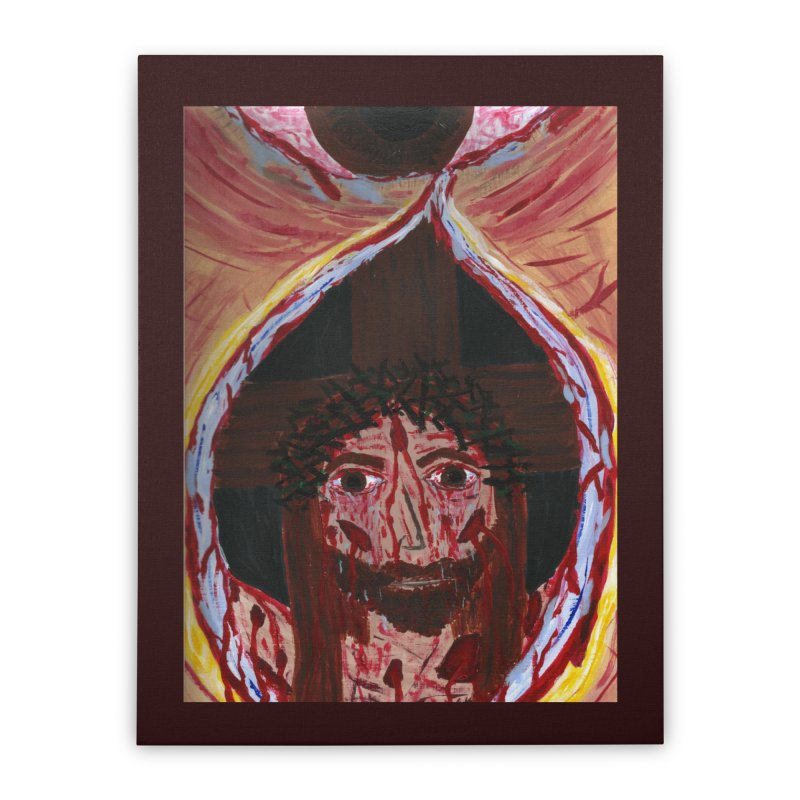 One tear of Jesus Crucified Home Stretched Canvas by Mary Kloska Fiat's Artist Shop