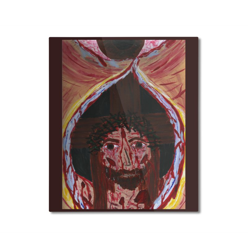 One tear of Jesus Crucified Home Mounted Aluminum Print by Mary Kloska Fiat's Artist Shop
