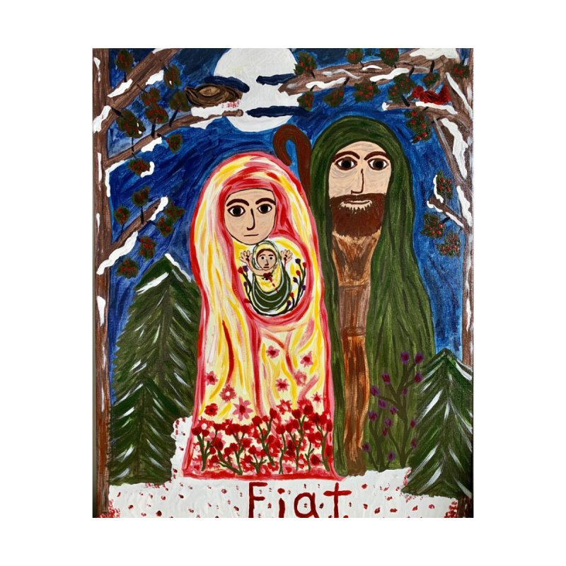 Holy Family in Siberian Forest Accessories Sticker by Mary Kloska Fiat's Artist Shop