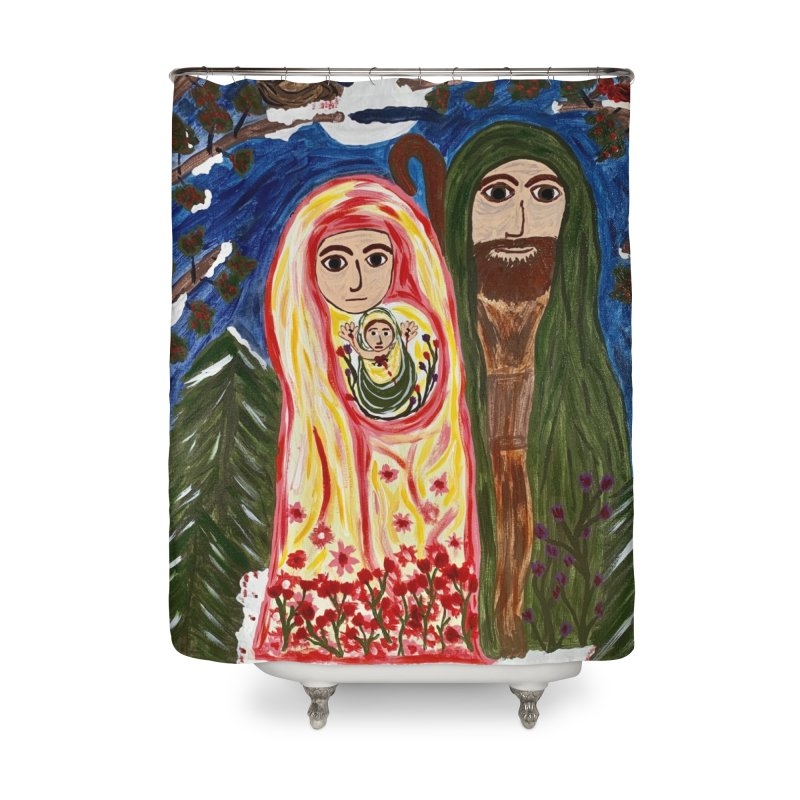 Holy Family in Siberian Forest Home Shower Curtain by Mary Kloska Fiat's Artist Shop