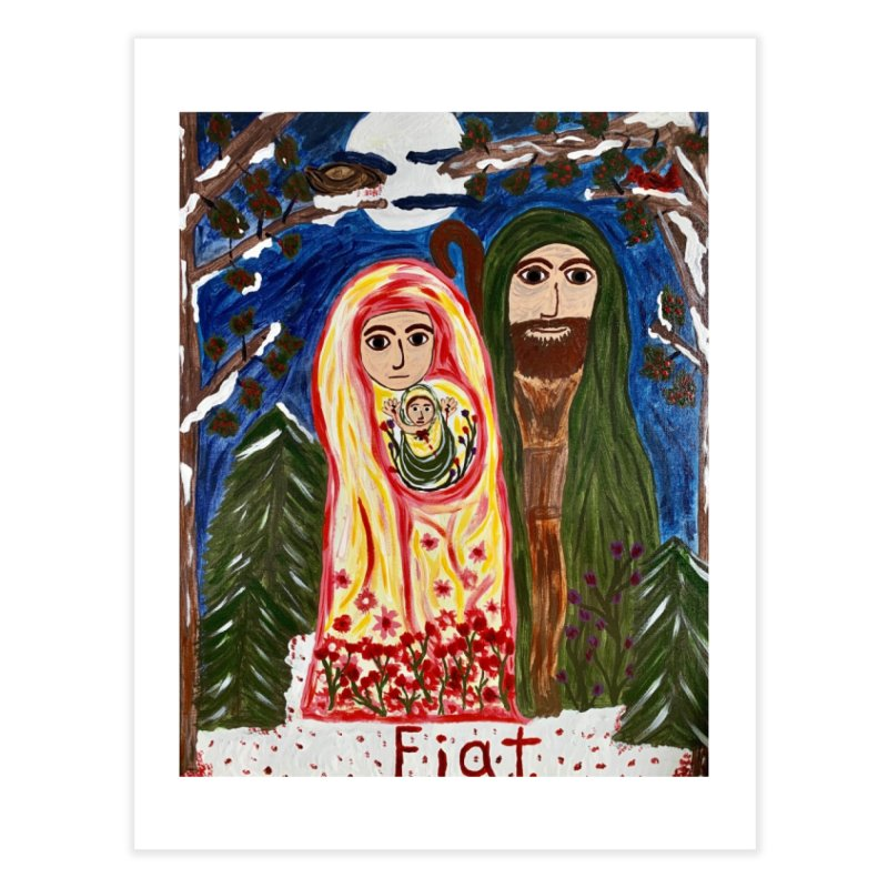 Holy Family in Siberian Forest Home Fine Art Print by Mary Kloska Fiat's Artist Shop