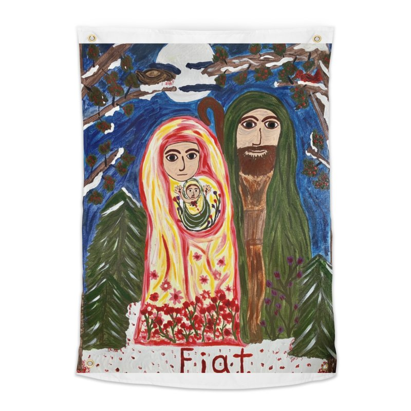 Holy Family in Siberian Forest Home Tapestry by Mary Kloska Fiat's Artist Shop