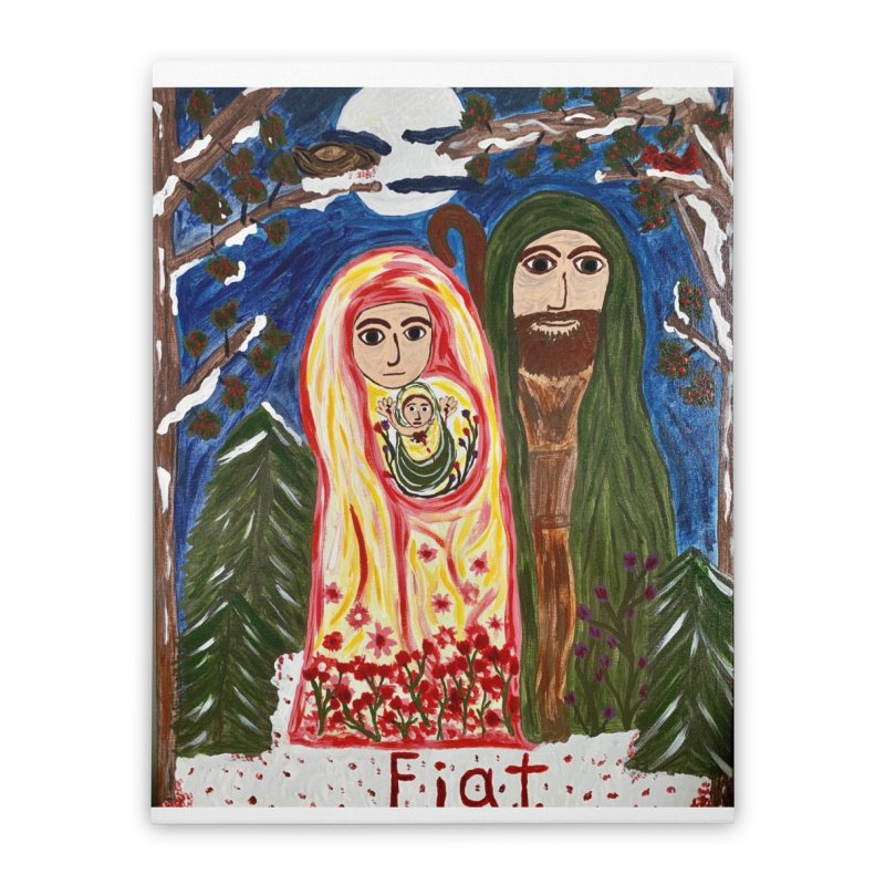 Holy Family in Siberian Forest Home Stretched Canvas by Mary Kloska Fiat's Artist Shop