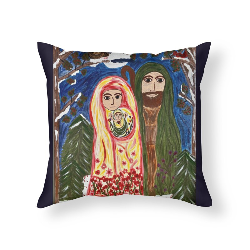 Holy Family in Siberian Forest Home Throw Pillow by Mary Kloska Fiat's Artist Shop