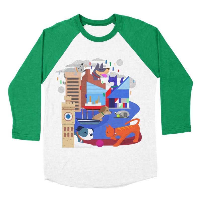 Pawtimore by Richard Kercz Women's Baseball Triblend Longsleeve T-Shirt by Maryland SPCA's Artist Shop