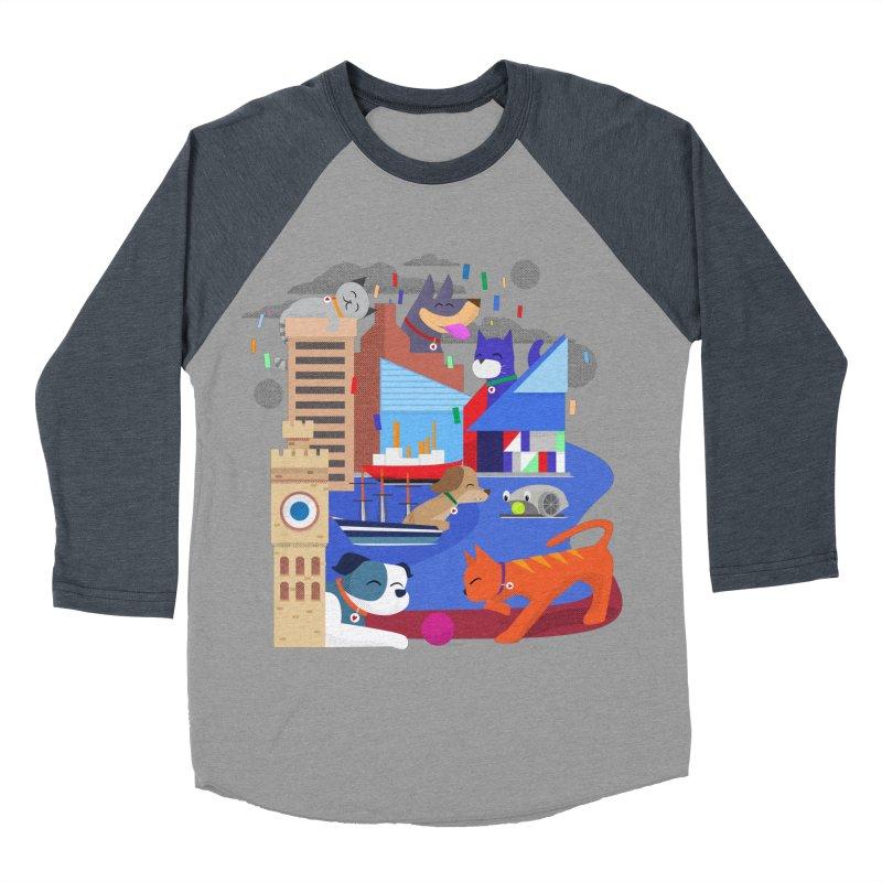 Pawtimore by Richard Kercz Men's Baseball Triblend Longsleeve T-Shirt by Maryland SPCA's Artist Shop