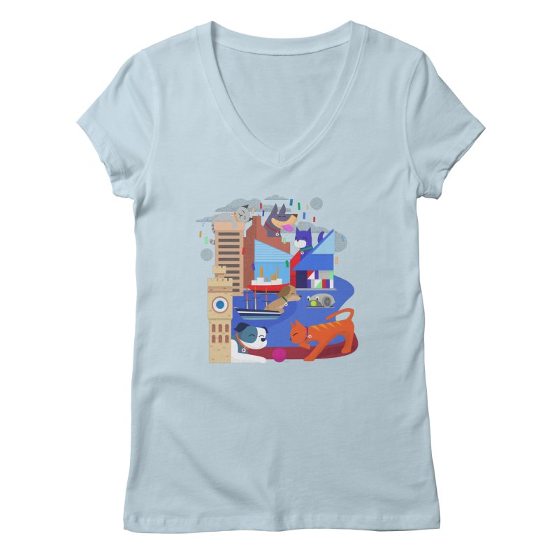 Pawtimore by Richard Kercz Women's Regular V-Neck by Maryland SPCA's Artist Shop