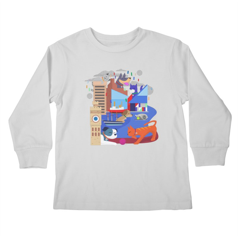 Pawtimore by Richard Kercz Kids Longsleeve T-Shirt by Maryland SPCA's Artist Shop