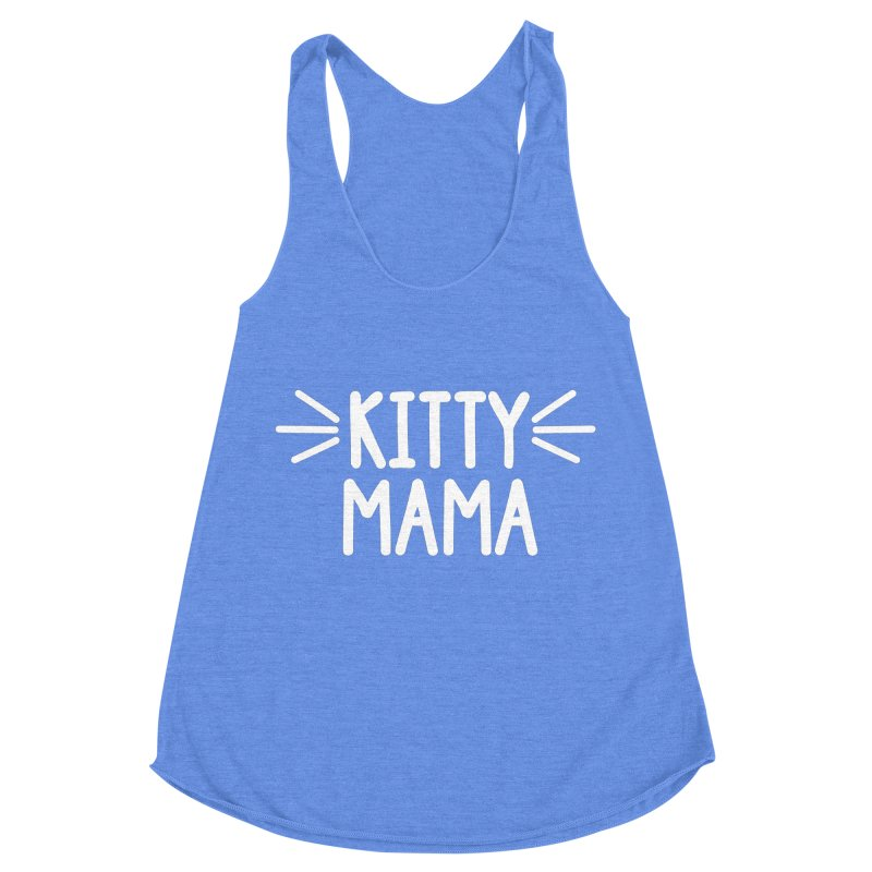 Kitty Mama in Women's Racerback Triblend Tank Heather Sky Blue by Maryland SPCA's Artist Shop