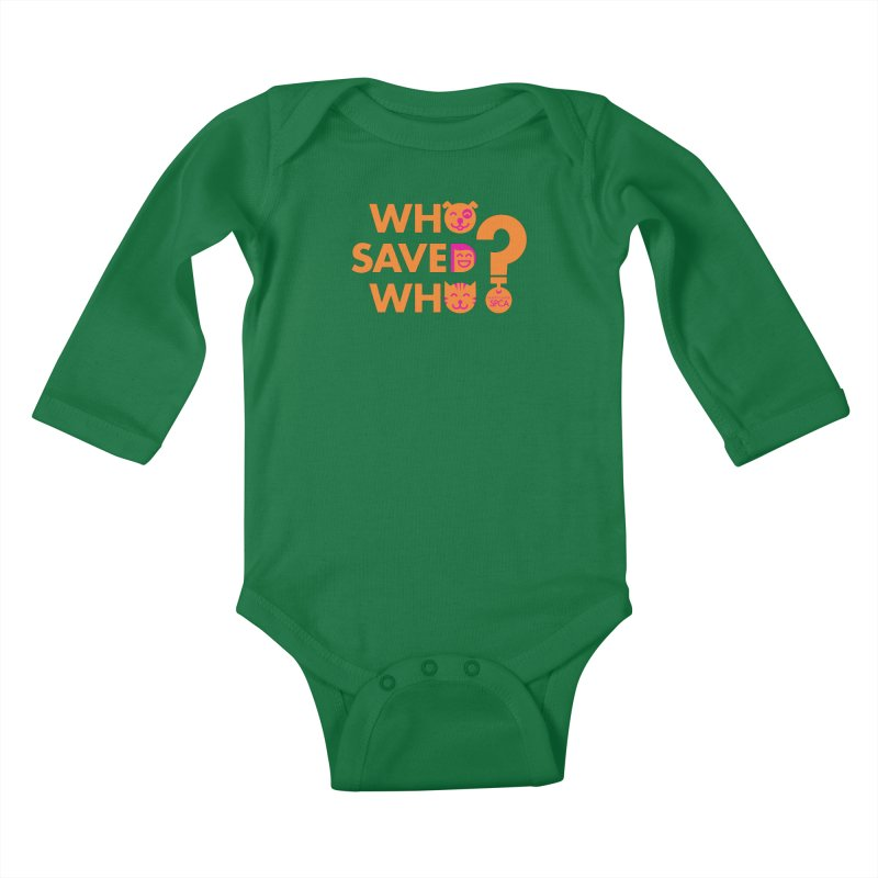 Who Saved Who - Orange/Pink - MD SPCA Design Kids Baby Longsleeve Bodysuit by Maryland SPCA's Artist Shop