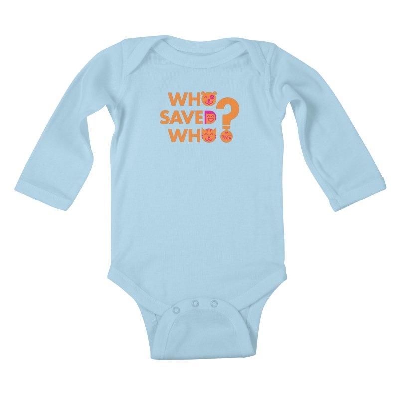 Who Saved Who - Orange/Pink - MD SPCA Design Kids Baby Longsleeve Bodysuit by Maryland SPCA's Artist Shop