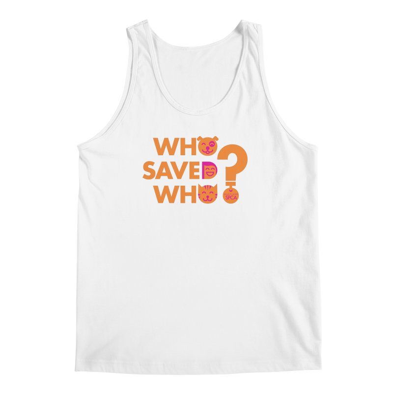 Who Saved Who - Orange/Pink - MD SPCA Design Men's Regular Tank by Maryland SPCA's Artist Shop