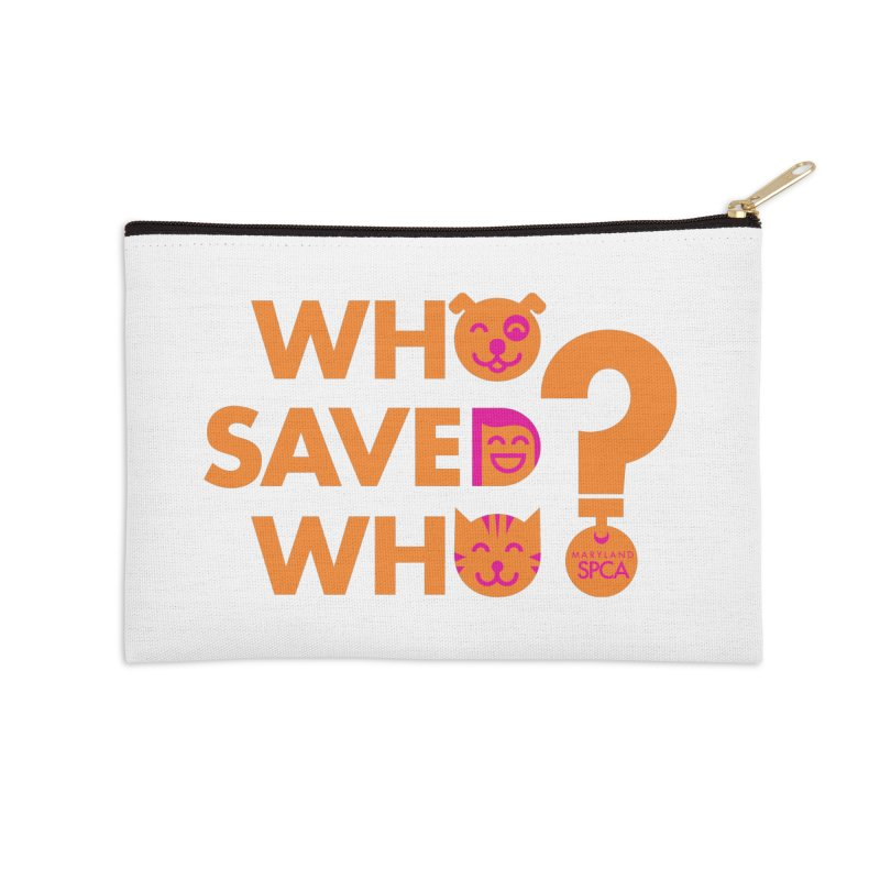 Who Saved Who - Orange/Pink - MD SPCA Design Accessories Zip Pouch by Maryland SPCA's Artist Shop