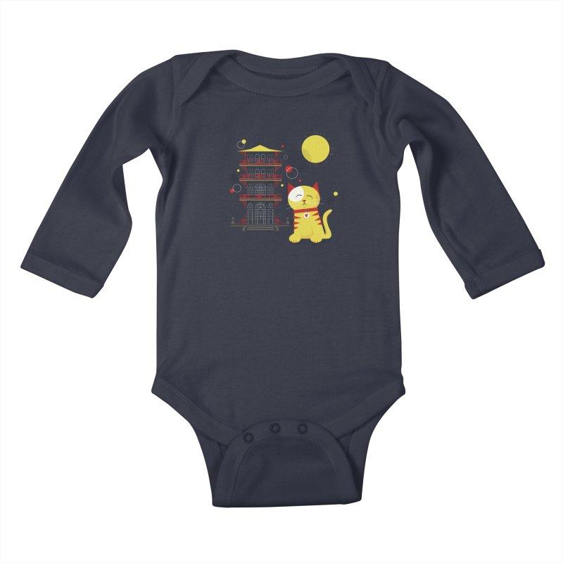 Pawgoda by Richard Kercz Kids Baby Longsleeve Bodysuit by Maryland SPCA's Artist Shop