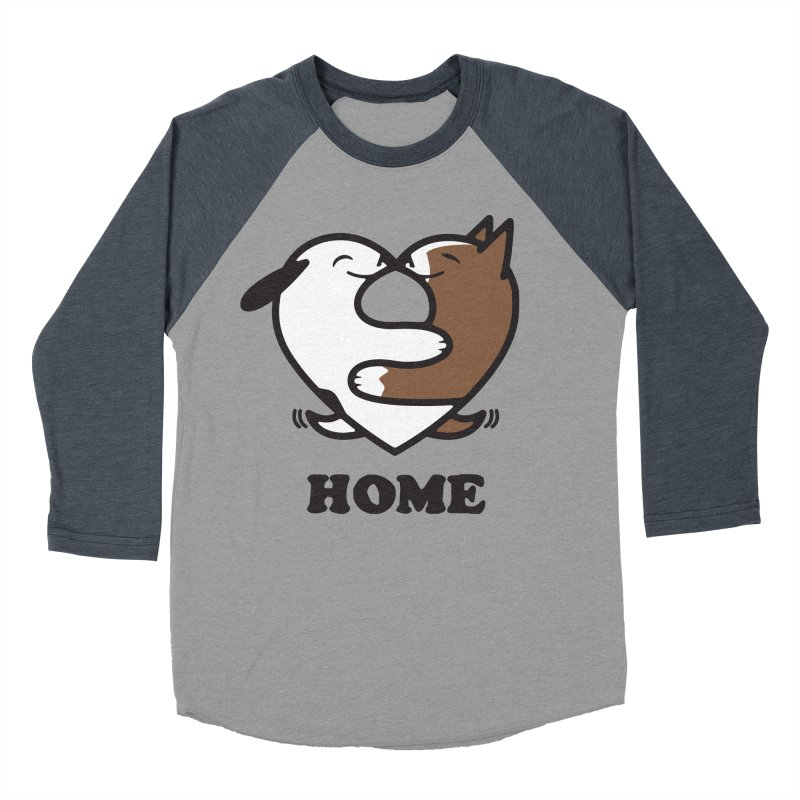Home by Mark Kubat Men's Baseball Triblend Longsleeve T-Shirt by Maryland SPCA's Artist Shop