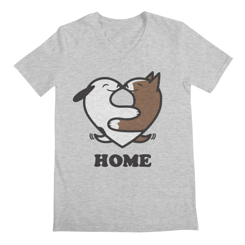 Home by Mark Kubat in Men's Regular V-Neck Heather Grey by Maryland SPCA's Artist Shop