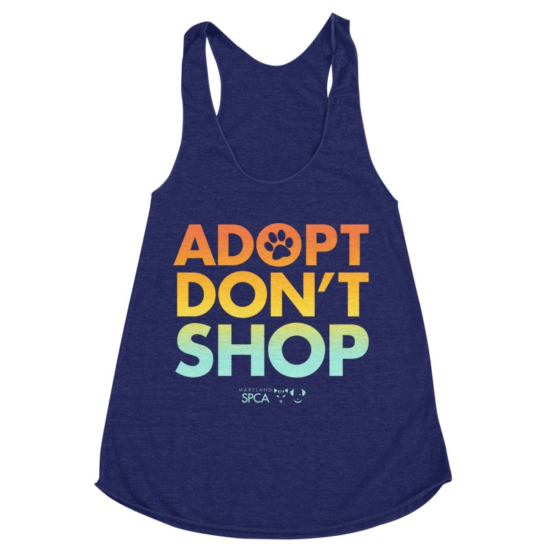 Adopt Don't Shop Women's Racerback Triblend Tank by Maryland SPCA's Artist Shop