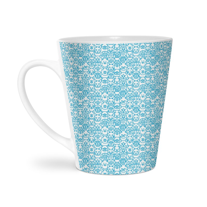 Maryland SPCA Cats & Dogs Pattern - BLUE Accessories Latte Mug by Maryland SPCA's Artist Shop