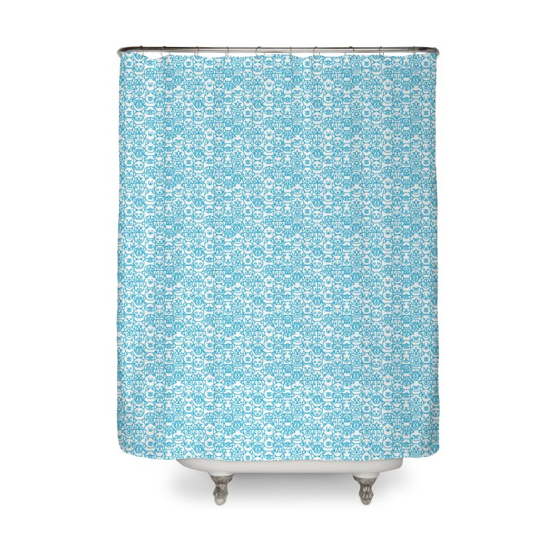 Maryland SPCA Cats & Dogs Pattern - BLUE Home Shower Curtain by Maryland SPCA's Artist Shop