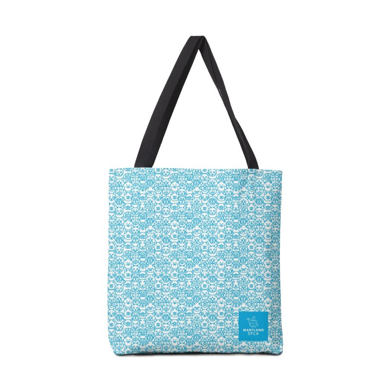 Maryland SPCA Cats & Dogs Pattern - BLUE Accessories Tote Bag Bag by Maryland SPCA's Artist Shop