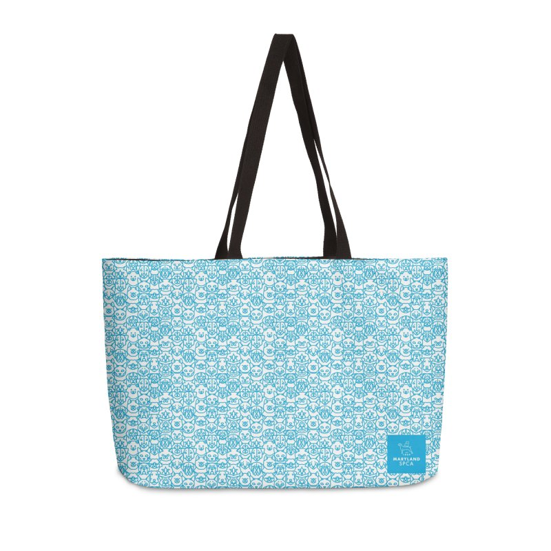 Maryland SPCA Cats & Dogs Pattern - BLUE Accessories Weekender Bag Bag by Maryland SPCA's Artist Shop