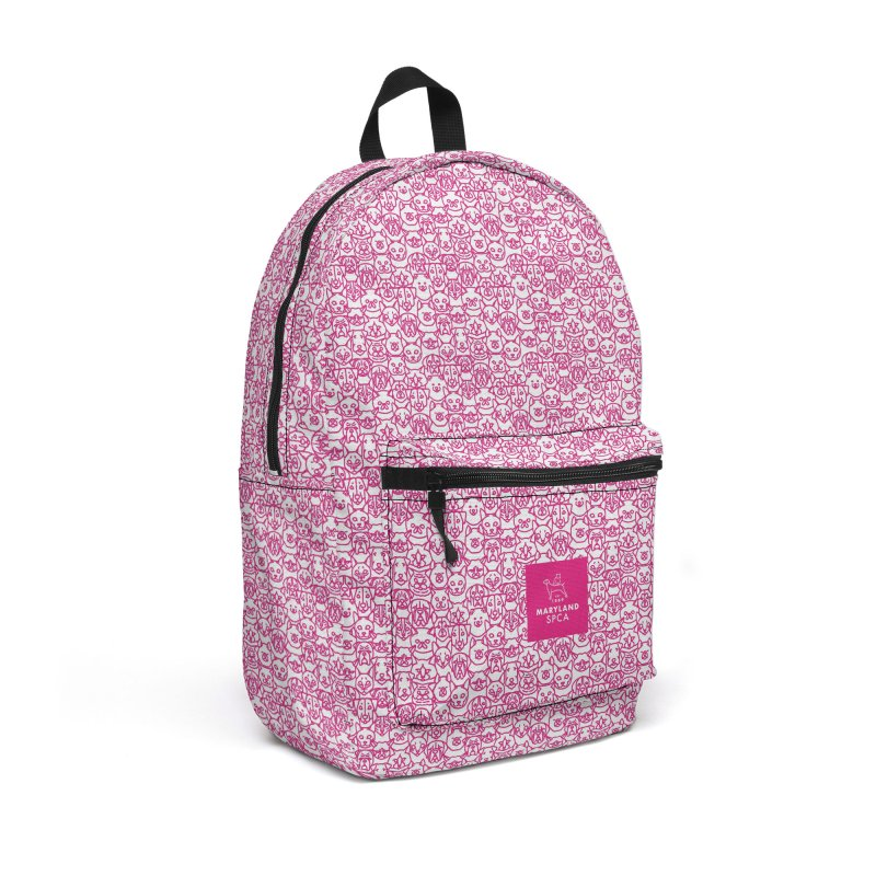 Maryland SPCA Cats & Dogs Pattern - PINK Accessories Backpack Bag by Maryland SPCA's Artist Shop