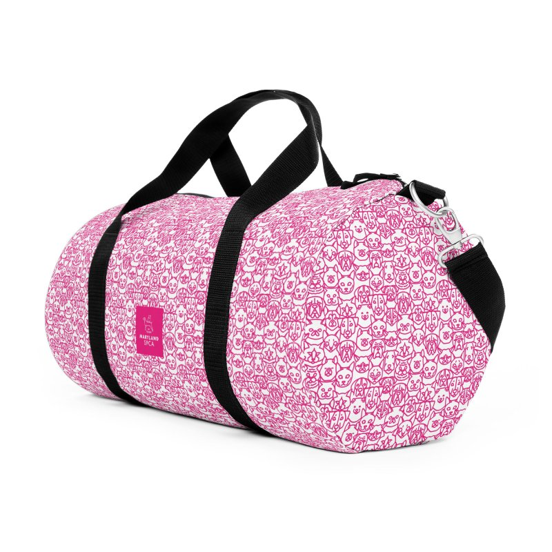 Maryland SPCA Cats & Dogs Pattern - PINK Accessories Duffel Bag Bag by Maryland SPCA's Artist Shop
