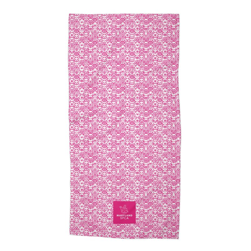Maryland SPCA Cats & Dogs Pattern - PINK Accessories Beach Towel by Maryland SPCA's Artist Shop