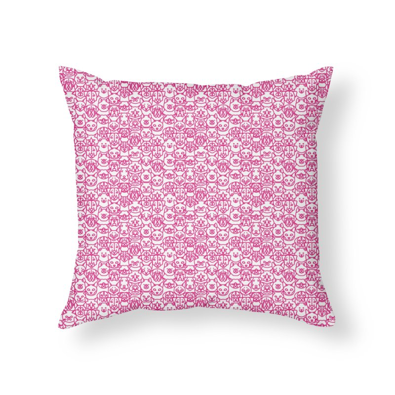 Maryland SPCA Cats & Dogs Pattern - PINK Home Throw Pillow by Maryland SPCA's Artist Shop