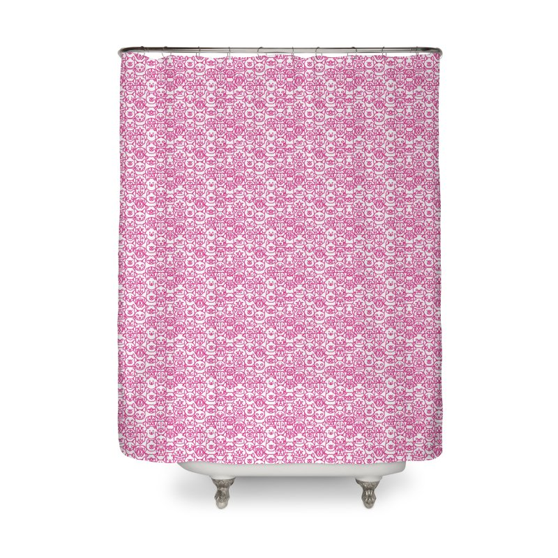 Maryland SPCA Cats & Dogs Pattern - PINK Home Shower Curtain by Maryland SPCA's Artist Shop