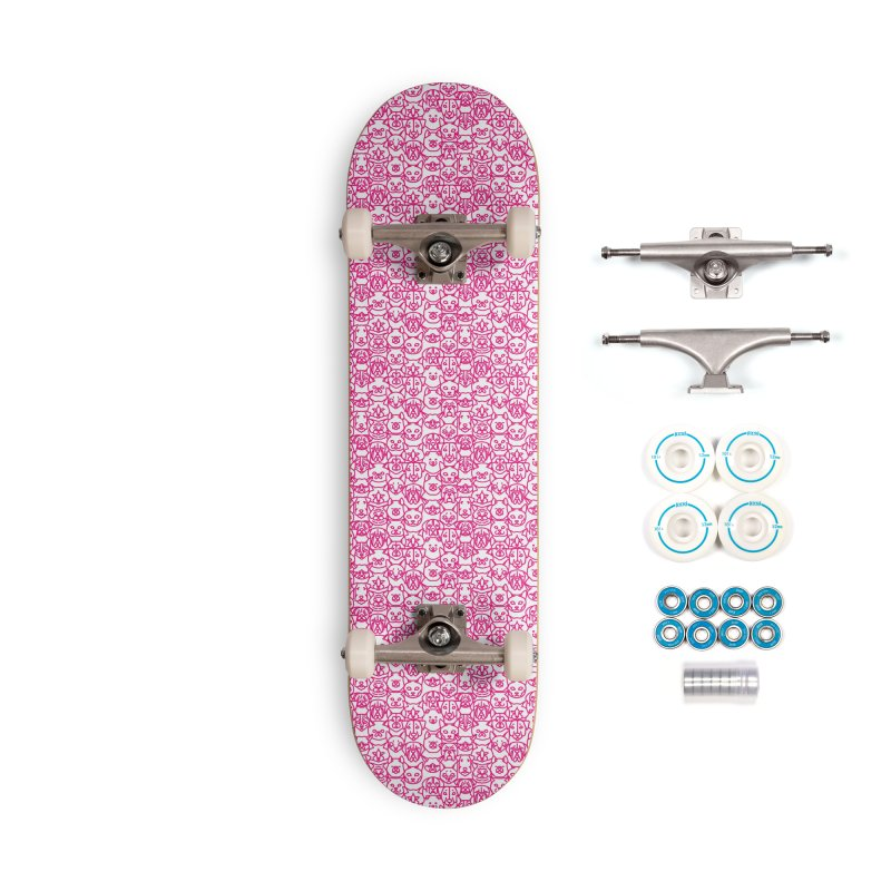 Maryland SPCA Cats & Dogs Pattern - PINK Accessories Complete - Basic Skateboard by Maryland SPCA's Artist Shop