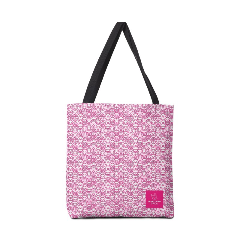 Maryland SPCA Cats & Dogs Pattern - PINK Accessories Tote Bag Bag by Maryland SPCA's Artist Shop